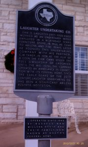 Historic marker for Laughter Undertaking Company.