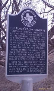 Historic marker for the Block 97 Controversy