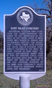 Baby Head Cemetery historic marker.