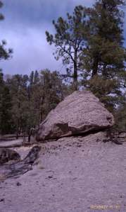 A pointed toadstool rock.