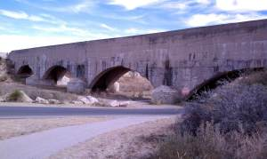 The flume still carries water from the Pecos River to area farmland.