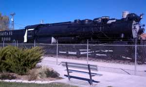 Steam engine for the Atchison, Topeka and Santa Fe Railway.