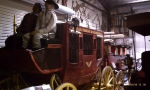 A restored Wells Fargo and Company stage coach.