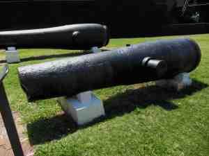 Civil War artillery along the grounds.