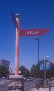 The Q Street sign post.