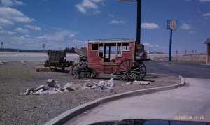 Early transportation along modern roadways.