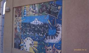A mural depicting art and culture.