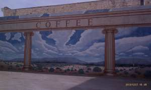 A mural depicts architecture, coffee, and so much more.