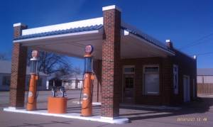 A familiar orange marks this service station.