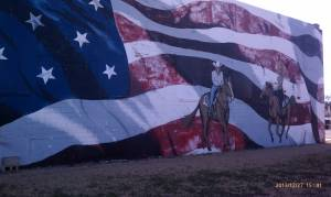 A patriotic western scene.