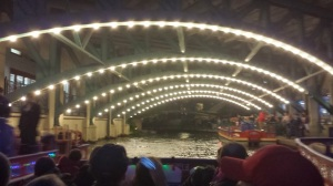 A lighted riverboat tour.