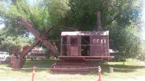A steam driven mining shovel.