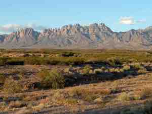 The Organ Mountains near dusk.