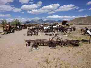 Farm equipment under the desert sun.