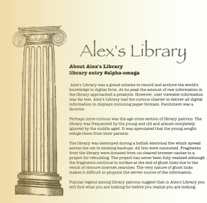 Alex's Library displays information about itself.